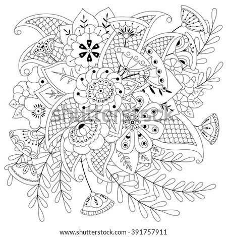 Coloring book for adult and older children. Coloring page with flowers