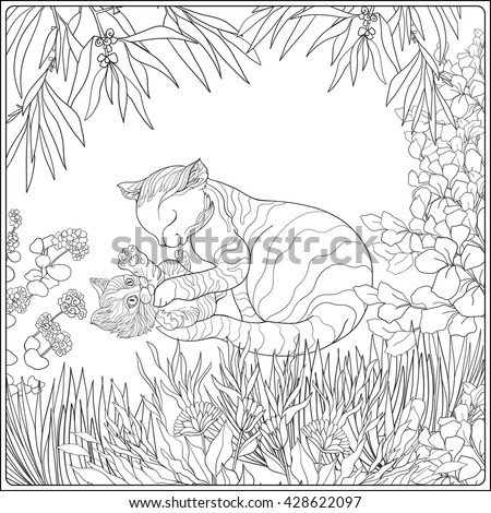 Coloring Book For Adult And Older Children Page With Lovely Mother Cat Her