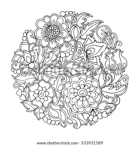 Coloring Book For Adult And Older Children Page With Vintage Flowers Pattern
