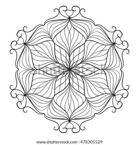 Coloring book for adults and children. Round floral mandala element. Anti stress and relaxation