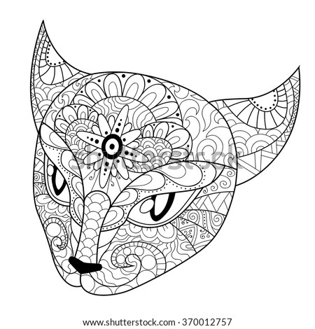 coloring book for adults coloring page cats head with different ornaments hand drawn