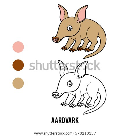 Coloring Book For Children Animal Aardvark