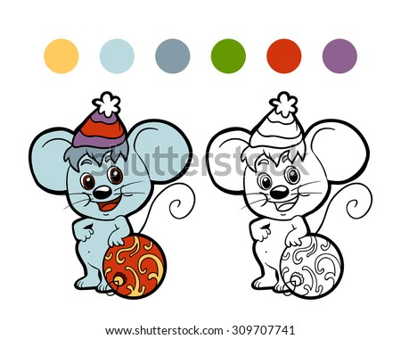 Coloring book for children (Christmas mouse)