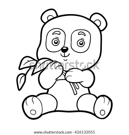 Coloring Book For Children Page With Panda