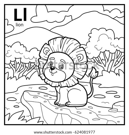 coloring book for children colorless alphabet letter l lion
