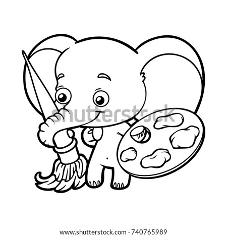 Coloring Book For Children Elephant With Paints And A Brush