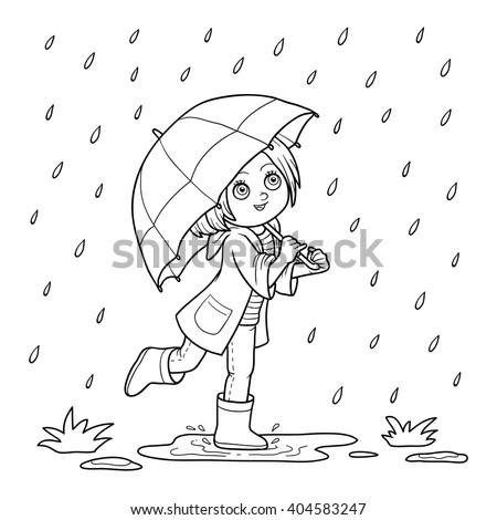 Coloring Book For Children Girl Running With An Umbrella In The Rain
