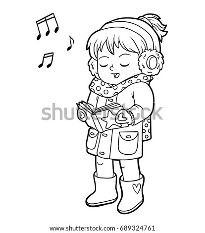Coloring Book For Children Girl Singing A Christmas Song