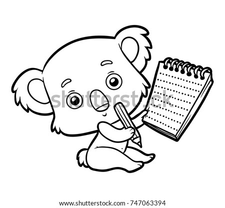 Coloring Book For Children Koala With A Notebook