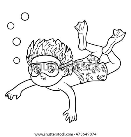 Coloring Book Children Little Boy Swimming Stock Vector 473649874