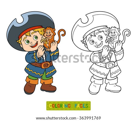 Coloring book for children (pirate boy and monkey) - stock vector