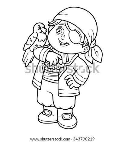 Coloring book for children: pirate boy and parrot - stock vector