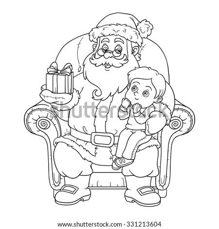 coloring book for children santa claus gives a gift a little boy - Coloring Book Santa