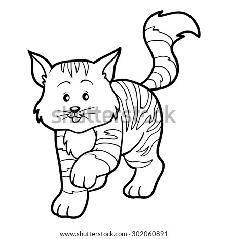 Coloring book for children (striped cat) - stock vector