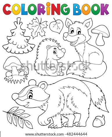 Coloring Book Forest Wildlife Theme 1 Stock Vector 482444644 ...