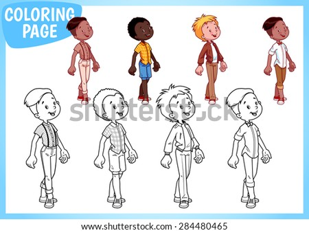 Coloring book. Four boys in stylish outfits. Vector illustration on white background. A4 size. - stock vector