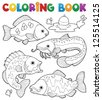 Coloring book freshwater fishes 1 - vector illustration. - stock vector
