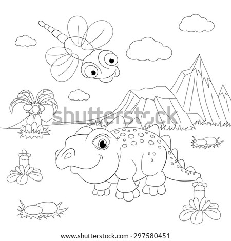 Coloring Book Funny Dinosaur In A Prehistoric Landscape Cartoon And Vector Isolated Character