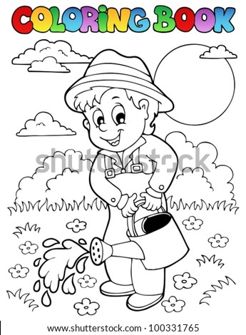 Coloring book garden and gardener - vector illustration. - stock vector