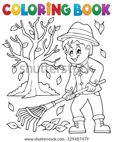 Coloring book gardener and tree - eps10 vector illustration. - stock vector