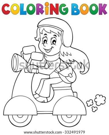 Coloring book girl on motor scooter - eps10 vector illustration. - stock vector
