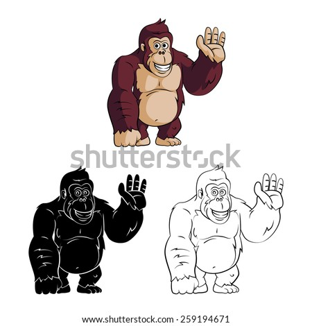 Coloring book Gorilla cartoon character - vector illustration .EPS10 - stock vector
