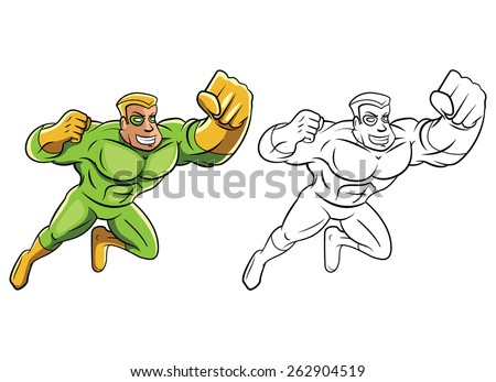 Coloring book Green Super Hero cartoon character