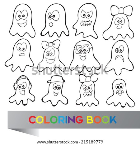 Coloring book Halloween - vector illustration with fanny characters