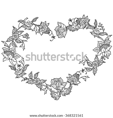 Coloring  book. Hand drawn. Adults, children.Black and white. Flowers.  A set of decorative plant elements.The shape of the heart. - stock vector