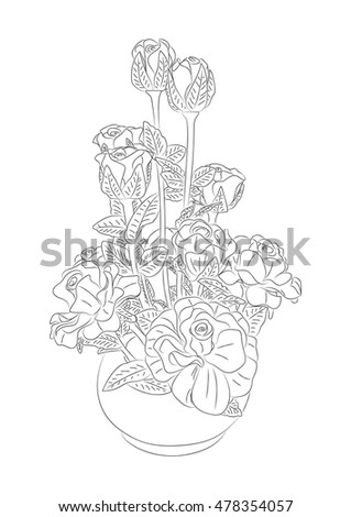 Coloring Book Hand Drawn Roses Vase Stock Vector (Royalty Free ...