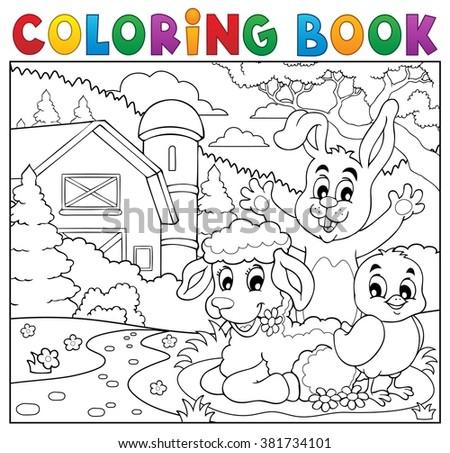 Coloring book happy animals near farm - eps10 vector illustration. - stock vector
