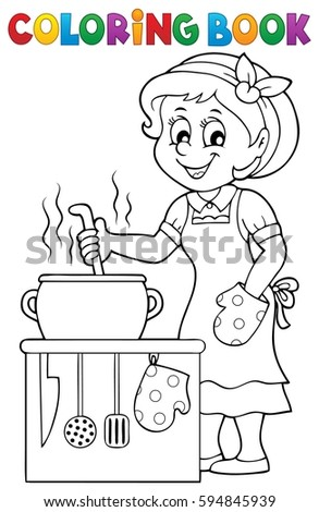 Coloring book happy female cook - eps10 vector illustration.