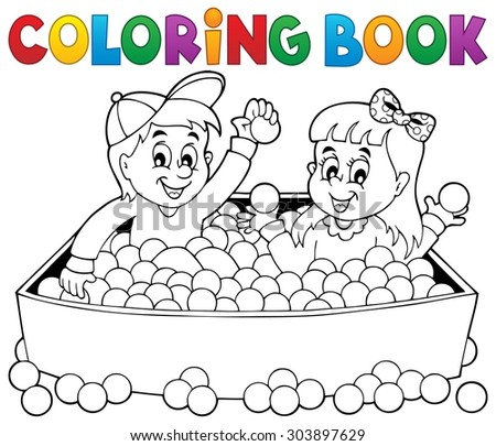 Coloring book happy playing children - eps10 vector illustration. - stock vector