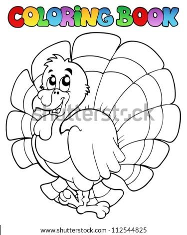 Coloring book happy turkey - vector illustration. - stock vector