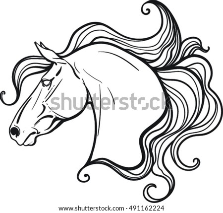 Coloring Book Horse Stock Vector 491162224 - Shutterstock