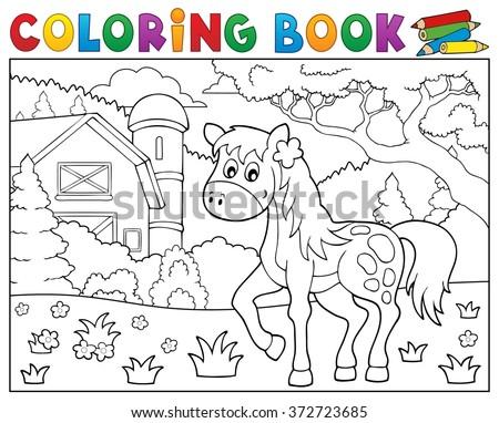Coloring book horse near farm theme 1 - eps10 vector illustration. - stock vector