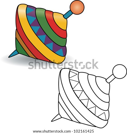 spinning top coloring page - spinning top toy stock images royalty free images