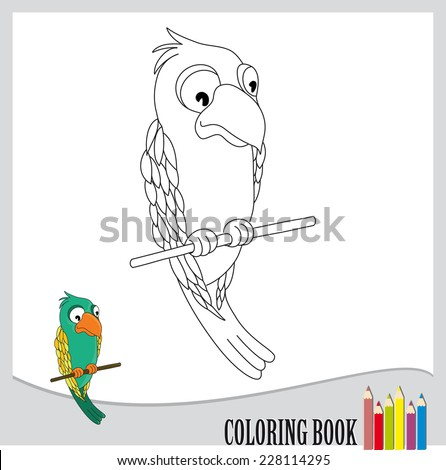 Coloring book - illustration of parrot (vector) - stock vector