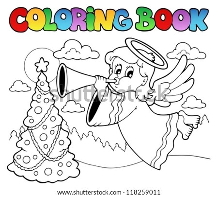 Coloring book image with angel 2 - vector illustration. - stock vector