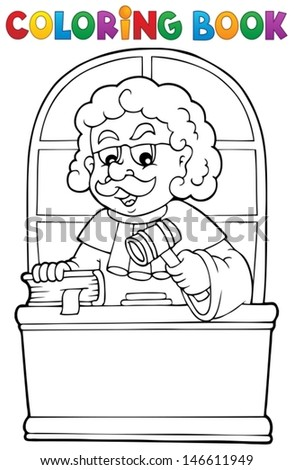 Coloring book judge theme 1 - eps10 vector illustration. - stock vector