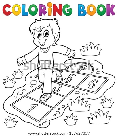 Coloring book kids play theme 4 - eps10 vector illustration. - stock vector