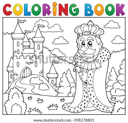 Coloring book king near castle - eps10 vector illustration. - stock vector