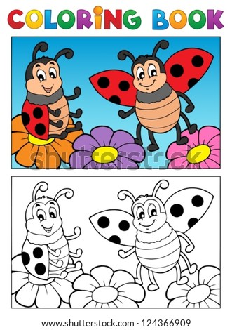 Coloring book ladybug theme 2 - vector illustration. - stock vector