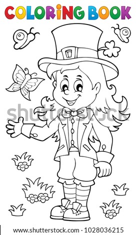 Coloring Pages Of Girl Leprechauns. Coloring book leprechaun girl theme 1  eps10 vector illustration Leprechaun Girl Stock Images Royalty Free Vectors