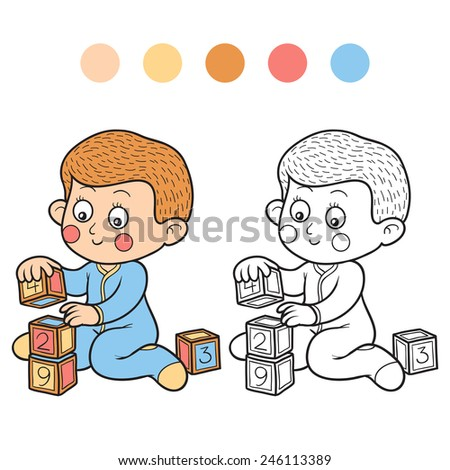 Coloring book (little boy and cubes) - stock vector