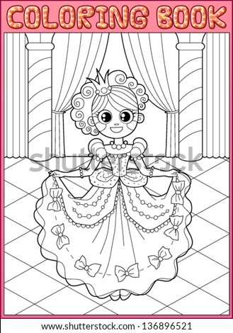 Coloring book. Little princess at the dance - stock vector