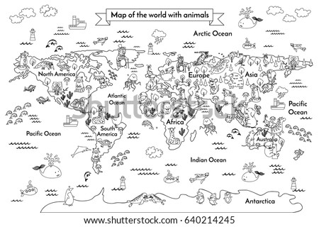 Map animal kid continent world animated stock illustration coloring book map of the world artoon globe with animals black and gumiabroncs Choice Image