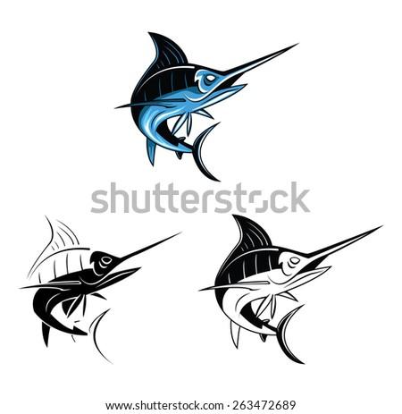 Coloring book Marlin Fish cartoon character - stock vector