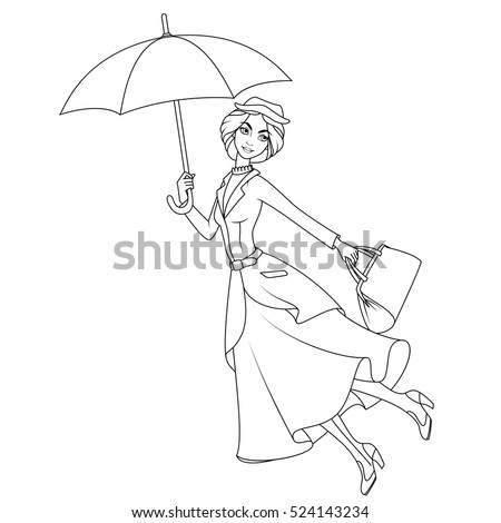 Coloring Book Marry Poppins A Novel Character Flying On Umbrella