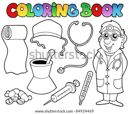 Coloring book medical collection - vector illustration. - stock vector